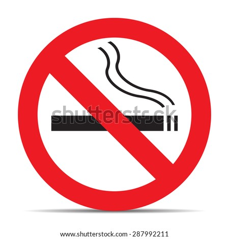 No smoking icon with shadow on white background