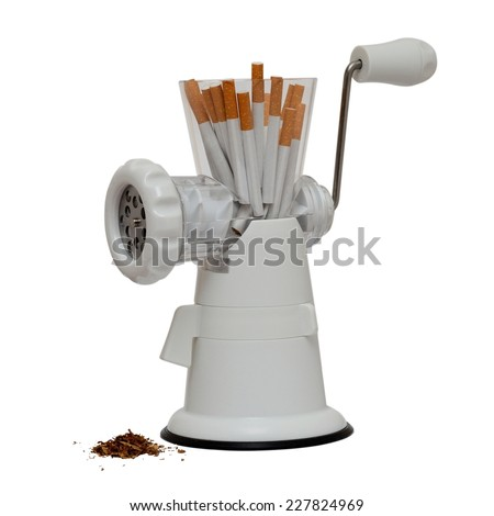 no smoking image with cigarettes in a meat grinder isolated on white - stock photo