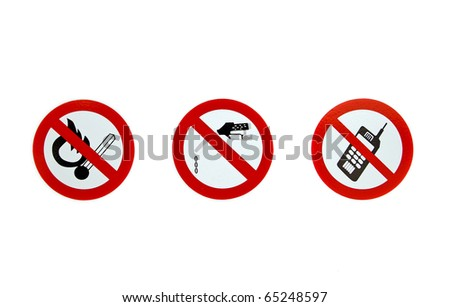 no smoking, no gas dropping and no cell phone signs on a white background - stock photo