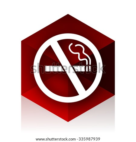 no smoking red cube 3d modern design icon on white background  - stock photo