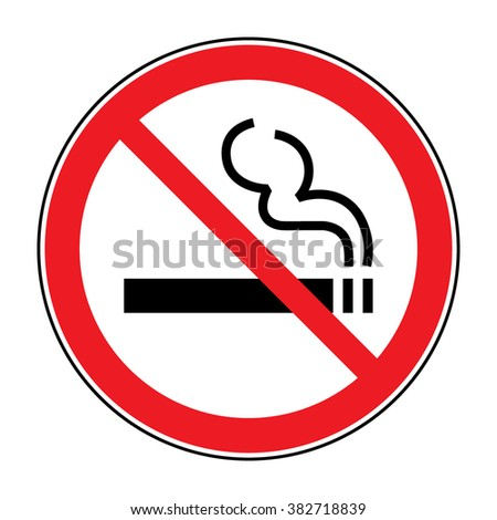 No smoking sign. A sign showing no smoking is allowed. Red round no smoking sign. Smoking prohibited symbol isolated on white background. Stock Illustration - stock photo