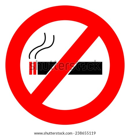 No Smoking Sign Board on White Background