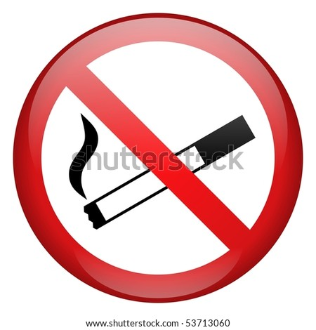 No Smoking Sign Button - stock photo