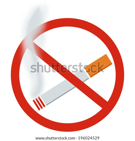 No smoking sign. Cigarette and smoke. - stock photo
