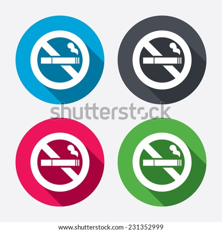 No Smoking sign icon. Cigarette symbol. Circle buttons with long shadow. 4 icons set. - stock photo