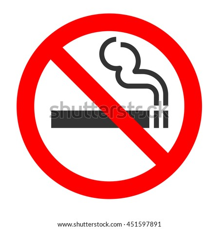 No smoking sign on white background. - stock photo