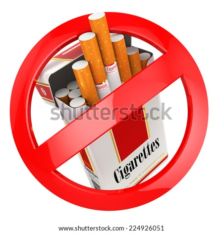 No smoking sign. on white isolated background. 3d - stock photo