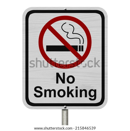 No Smoking Sign, Red and White sign with words No Smoking and cigarette symbol isolated on white - stock photo