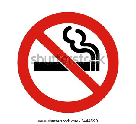 No Smoking Sign - Red Circle, Black Cigarette On A White Background - stock photo