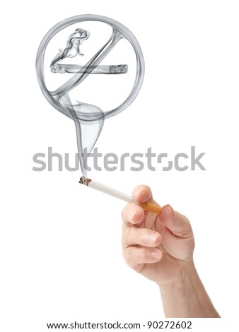 No smoking sign rising from a cigarette held in hand of an elderly woman, isolated on white background. - stock photo
