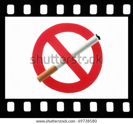 No Smoking sign symbol in a film frame on a white background - stock photo