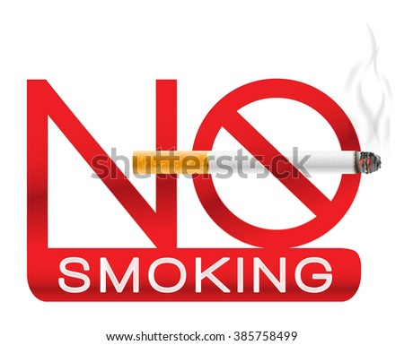 no smoking sign with cigarette and smoke. raster illustration