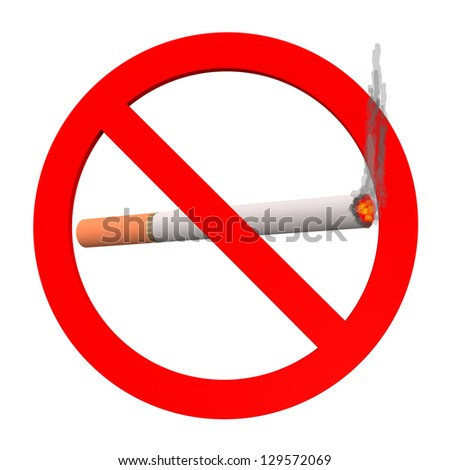 No smoking sign, with cigarette on the white background. - stock photo