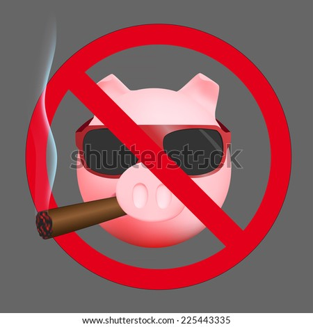 No smoking sign with pig - stock photo