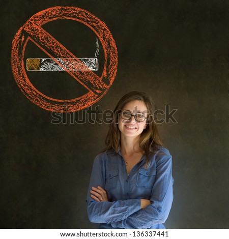 No smoking tobacco addict business woman, student or teacher on blackboard background