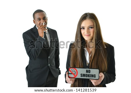 No smoking with smiling expression - stock photo