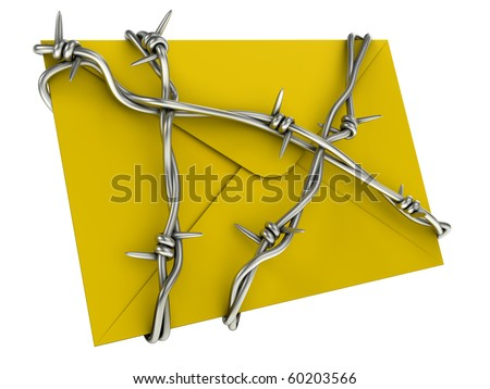 No spam or mail security concept. Letter with barbed wire.