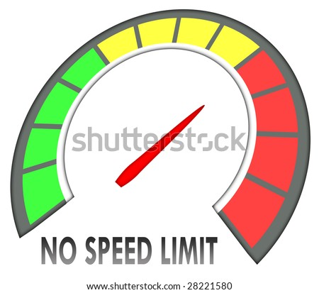 no speed limit text on speedometer over white background - stock photo