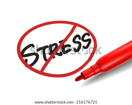 no stress word with a red marker over white - stock photo
