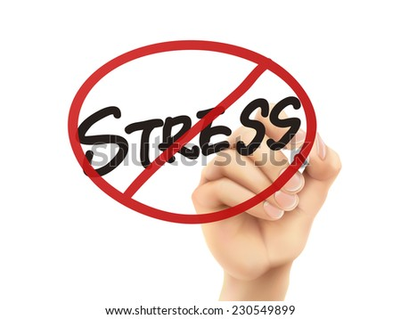 no stress words written by hand on a transparent board - stock photo