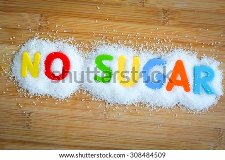No sugar text with magnetic letters concept - stock photo