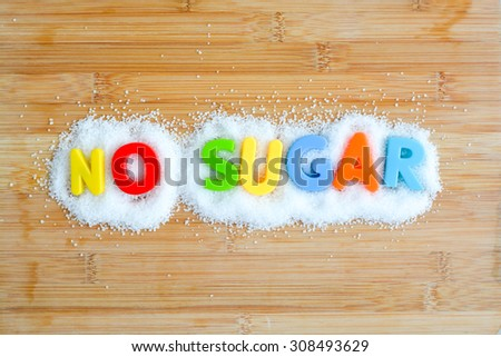 No sugar text with magnetic letters concept