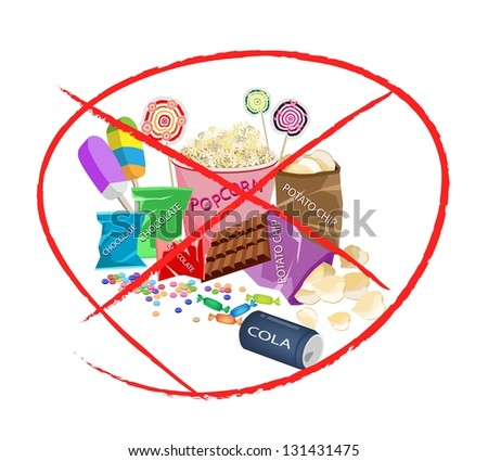 No Sweet Food, An Illustration of Forbidden or Prohibition Sign on Different Types of Snack and Sweet Food, Popcorn, Popsicles, Lollipops, Chocolate, Candies and Potato Chips - stock photo