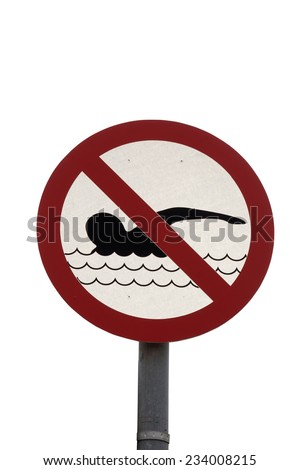no swimming sign on a white background with a clipping path - stock photo