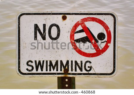 No Swimming with water background - stock photo