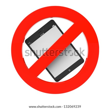 No Tablet PC sign on a white background - stock photo