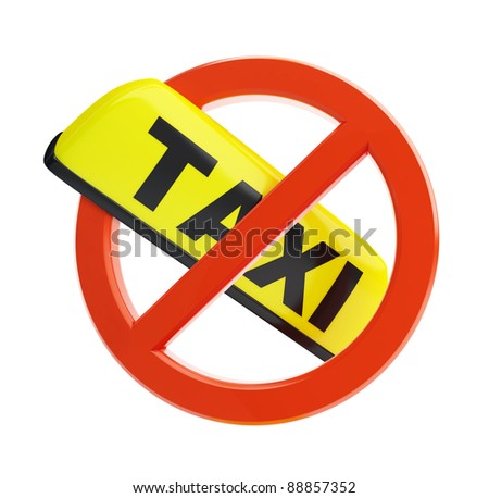 no taxi sign on a white background