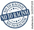 No to racism grunge blue round stamp - stock photo