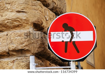 No Transit sign with a man designed, Italy - stock photo