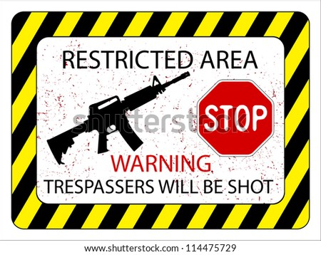 no trespassers allowed sign against white background, abstract art illustration
