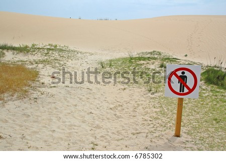 no trespassing the dunes in corrubedo - stock photo