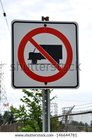 No trucks allowed in this road signage - stock photo