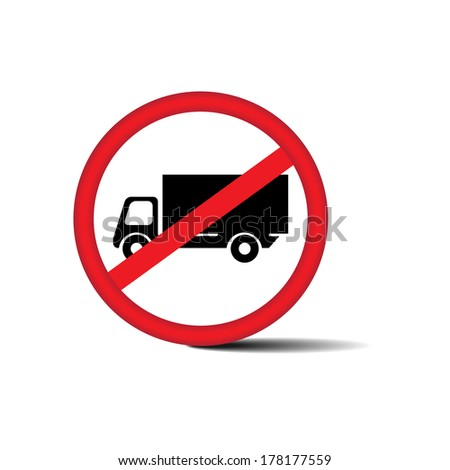 No Trucks Allowed sign isolated on white background - jpg. - stock photo