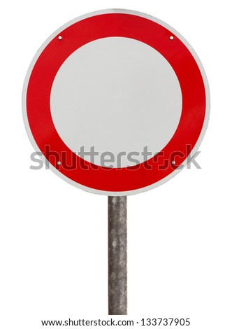 No vehicles traffic sign against white background - stock photo