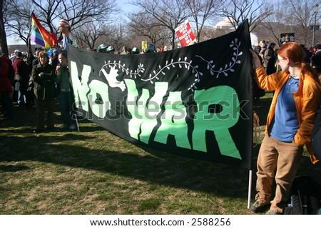 NO WAR banner at anti war rally on the National Mall, Washington, DC, Saturday, January 27, 2007. - stock photo