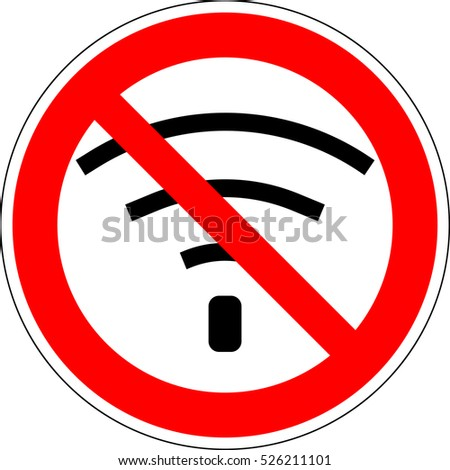 No wifi. Bad internet connection sign. Not signal, bad antenna, no wifi, wireless connection symbol. No Wifi sign. Wi-fi symbol. Wireless Network icon. Red prohibition sign. Stock ilustration