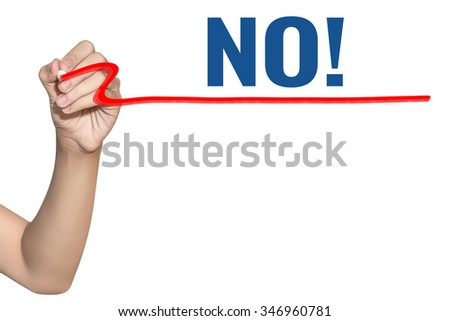No with symbol word write on white background by woman hand holding highlighter pen - stock photo