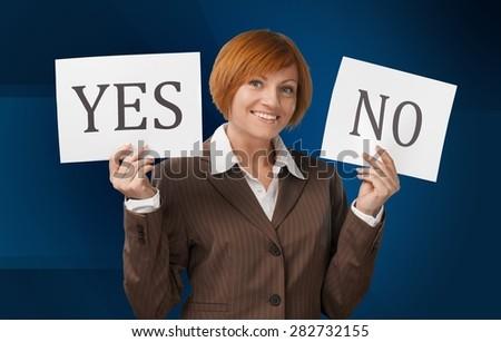 No, Women, Yes. - stock photo