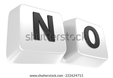 NO written in black on white computer keys. 3d illustration. Isolated background. - stock photo