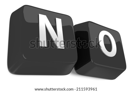 NO written in white on black computer keys. 3d illustration. Isolated background. - stock photo