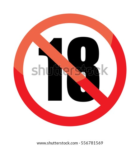 no 18 years old under eighteen stock vector 524096689