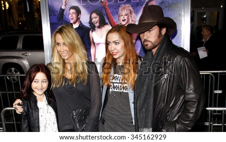 "Noah Cyrus, Tish Cyrus, Brandi Cyrus and Billy Ray Cyrus at the Los Angeles Premiere of ""Joyful Noise"" held at the Grauman's Chinese Theater, California, United States on January 9, 2012."