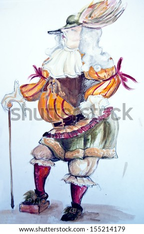 Noble man drawing - stock photo