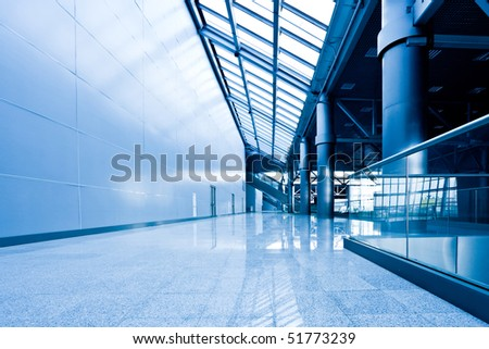 Nobody in corriddor in office centre - stock photo