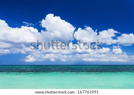 Nobody on the beauty beach with turquoise water - stock photo