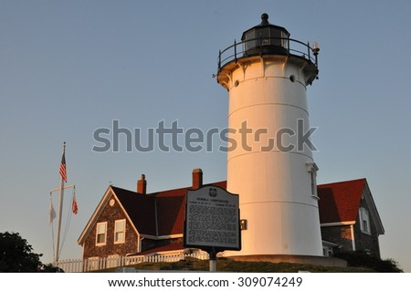 Nobska Lighthouse at Woods Hole on Cape Cod in Massachusetts